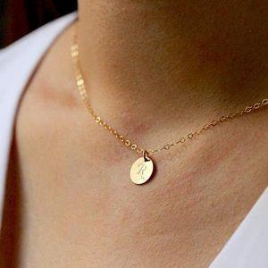 Letter M Disc Necklace